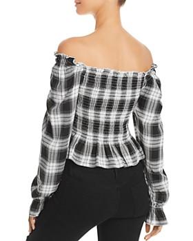 Cotton Candy LA - Plaid Off-the-Shoulder Top