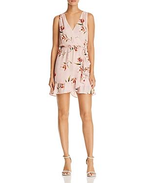 Aqua Floral Print Faux-Wrap Dress - 100% Exclusive