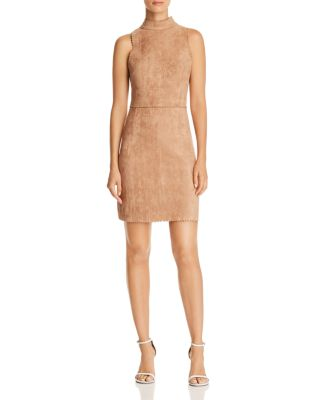 Scalloped Faux Suede Sheath Dress   100 Percents Exclusive by Aqua