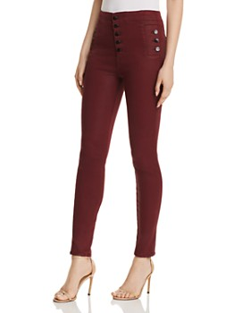J Brand - Natasha Sky High Skinny Jeans in Coated Oxblood