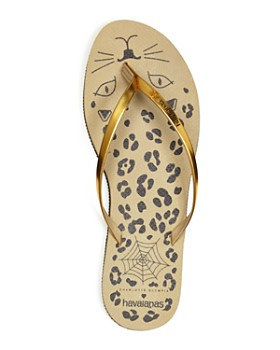 havaianas - x Charlotte Olympia Women's You Metallic & Leopard Print Slim Flip-Flops