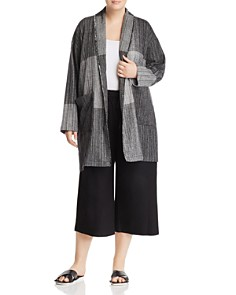 Eileen Fisher Plus - Color-Block Shawl Collar Jacket