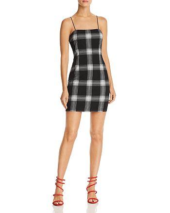 AQUA - Plaid Body-Con Dress - 100% Exclusive
