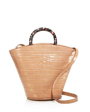 Agnes Croc-Embossed Leather Tote in Brown