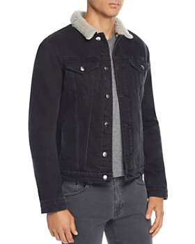 FRAME - L'Homme Faux Shearling-Trimmed Denim Trucker Jacket
