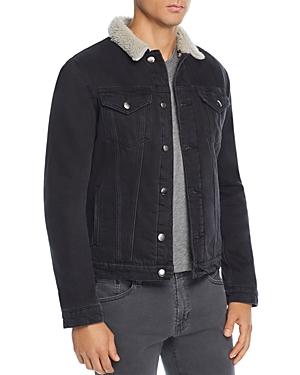 Frame L'Homme Faux Shearling-Trimmed Denim Trucker Jacket
