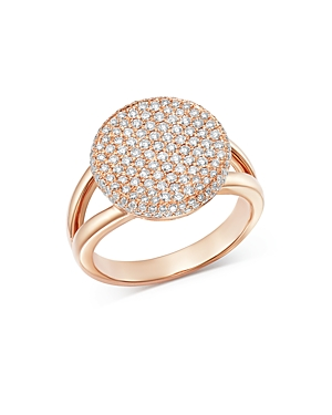 Bloomingdale's Pave Diamond Round Cocktail Ring in 14K Rose Gold, Diamonds: 1.0 ct. t.w. - 100% Exclusive