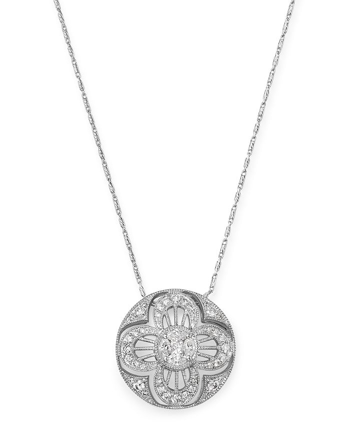 Bloomingdale's - Diamond Cutout Clover Pendant Necklace in 14K White Gold, 0.75 ct. t.w. - 100% Exclusive