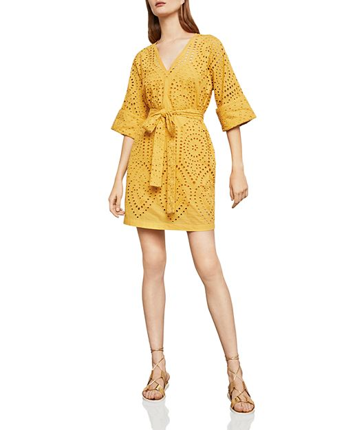 BCBGMAXAZRIA - Eyelet Belted Dress