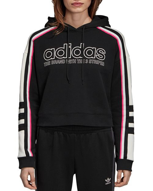 Adidas - Striped Cropped Hooded Sweatshirt
