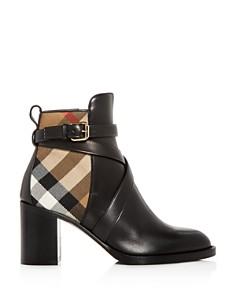Burberry - Women's Vaughan Vintage Check & Leather Block Heel Booties