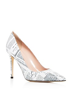 SJP by Sarah Jessica Parker Women's Fawn Bloomingdale's Newsprint Leather Pumps - 100% Exclusive _0