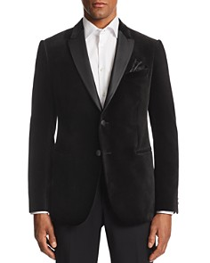 Armani - M-Line Contrast-Collar Velvet Tailored Fit Jacket