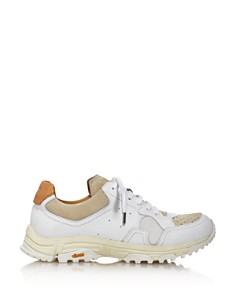 Pairs in Paris - Women's Round-Toe Lace Up Leather & Suede Dad Sneakers