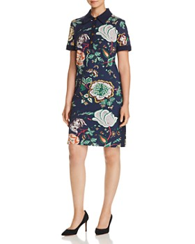 Tory Burch - Floral-Print Ponte Polo Dress