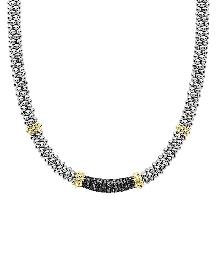 Lagos 18K YELLOW GOLD & STERLING SILVER DIAMOND LUX BLACK DIAMOND NECKLACE, 18