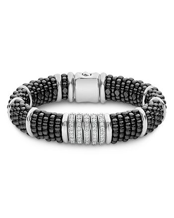 LAGOS - Sterling Silver Black Caviar Five-Bar Station Pavé Diamond & Black Ceramic Bracelet