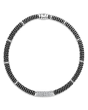 Lagos STERLING SILVER BLACK CAVIAR DIAMOND & BLACK CERAMIC STATION NECKLACE, 16