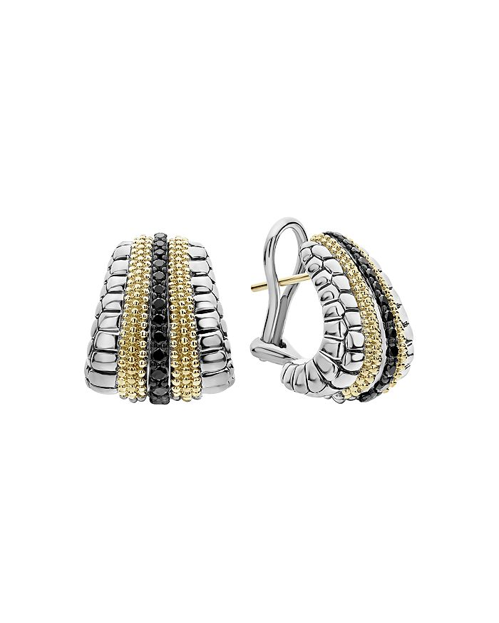Lagos 18K YELLOW GOLD & STERLING SILVER DIAMOND LUX BLACK DIAMOND OMEGA CLIP EARRINGS