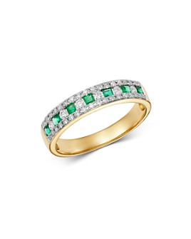 Bloomingdale's - Emerald & Diamond Single Band Ring in 14K Yellow Gold - 100% Exclusive