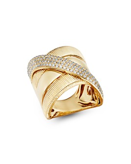 Bloomingdale's - Diamond Crossover Statement Ring in 14K Yellow Gold, 0.75 ct. t.w. - 100% Exclusive