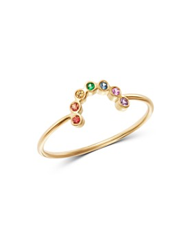Zoë Chicco - 14K Yellow Gold Rainbow Sapphire Small Arc Ring