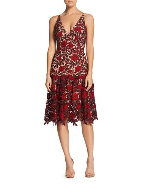 DRESS THE POPULATION Lily Plunge Lace Fit & Flare Dress in Garnet/ Nude