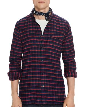 Scotch & Soda Plaid Regular Fit Button-Down Shirt