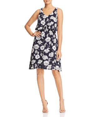 B COLLECTION BY BOBEAU LANE FLORAL-PRINT OVERLAY DRESS - 100% EXCLUSIVE