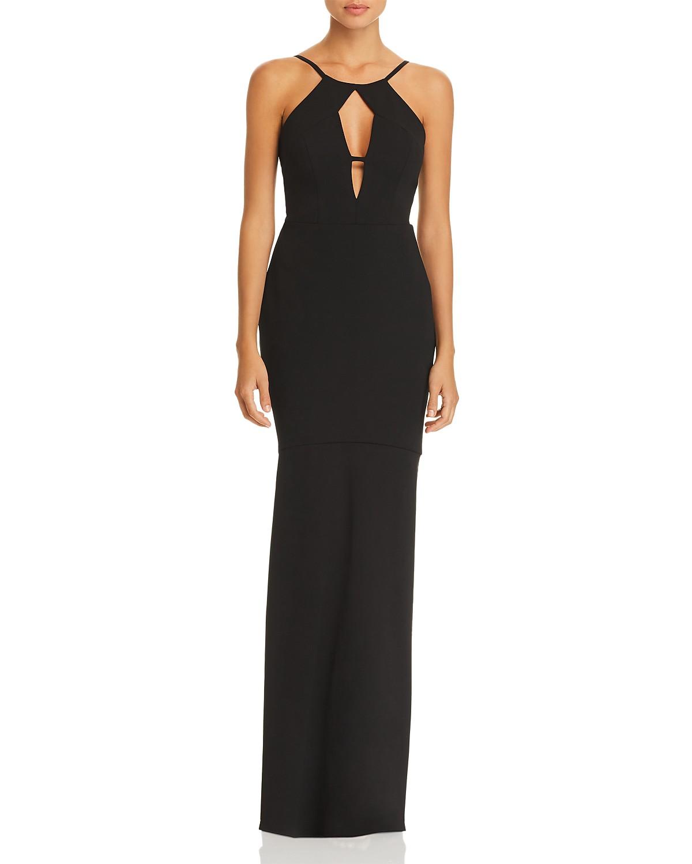 BCBGMAXAZRIA Cutout Crepe Gown   Bloomingdale\'s