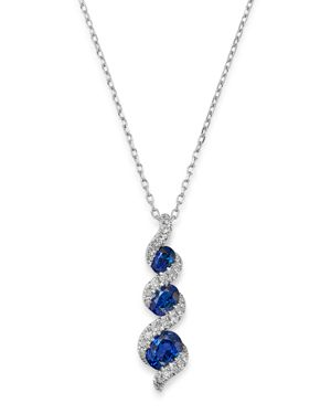 Bloomingdale's Blue Sapphire & Diamond Tiered Drop Pendant Necklace in 14K White Gold, 18 - 100% Exc