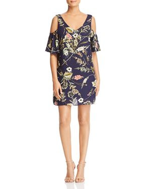 B COLLECTION BY BOBEAU FLORAL-PRINT COLD-SHOULDER DRESS - 100% EXCLUSIVE