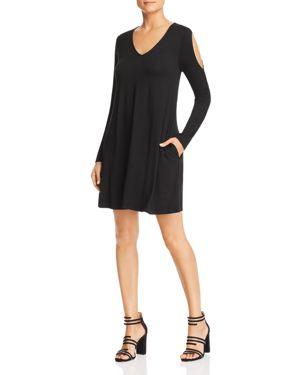 Robert Michaels Long-Sleeve Cold-Shoulder Dress in Black