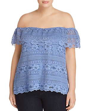 City Chic Plus Summer Frill Lace Top