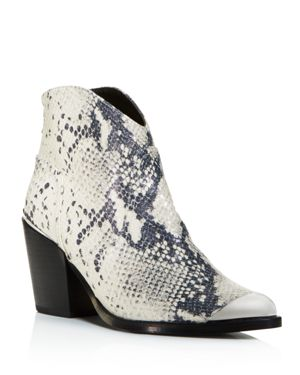 WOMEN'S POSE POINTED-TOE SNAKE SKIN-EMBOSSED LEATHER MID-HEEL BOOTIES - 100% EXCLUSIVE