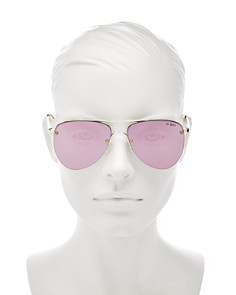 Le Specs - Women's The Prince Mirrored Rimless Brow Bar Aviator Sunglasses, 57mm