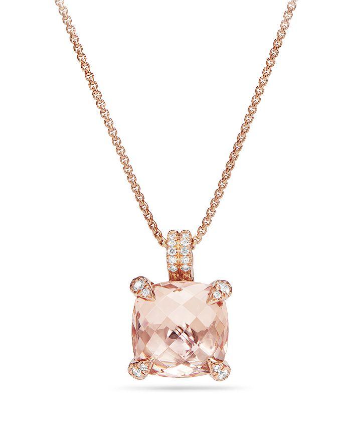 David Yurman - Châtelaine®  Pendant Necklace with Morganite & Diamonds in 18K Rose Gold