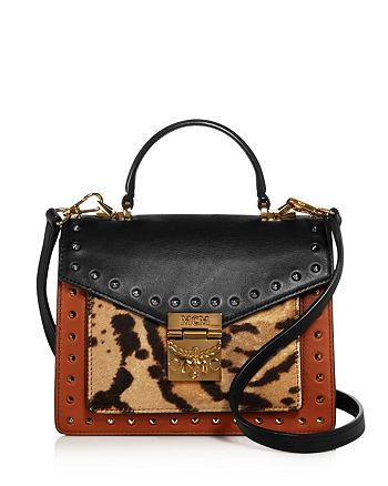 MCM - Patricia Small Leather & Leopard Print Calf Hair Satchel