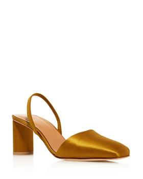 LoQ - Women's Felipa Square Toe Slingback Mid Heel Satin Pumps