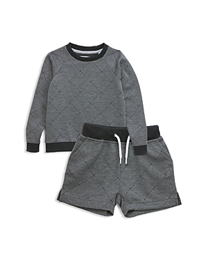 Sovereign Code Boys' Basketweave Print Sweatshirt & Sweatshorts Set - Baby
