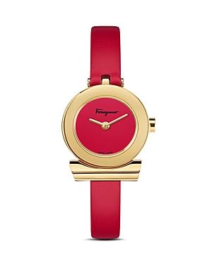 Salvatore Ferragamo Gancino Red Strap Watch, 22mm