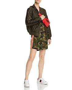 PAM & GELA - Striped-Trim Camo Tank Dress