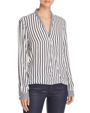 BEACHLUNCHLOUNGE Beachlunchlounge Striped Faux-Wrap Shirt in Black/White