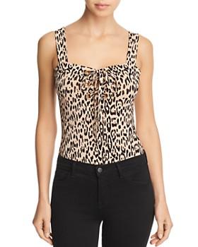 GUESS - Franchesca Lace-Up Leopard Print Bodysuit