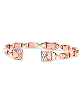 Michael Kors - Mercer Link Semi-Precious Sterling Silver Center Back Hinged Cuff in 14K Gold-Plated Sterling Silver, 14K Rose Gold-Plated Sterling Silver or Solid Sterling Silver