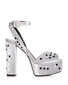 Giuseppe Zanotti - Women's Embellished Velvet High Block-Heel Platform Sandals
