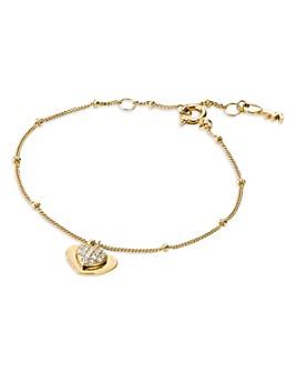 Michael Kors - Kors Love Pavé Heart Sterling Silver Bracelet in 14K Gold-Plated Sterling Silver, 14K Rose Gold-Plated Sterling Silver or Solid Sterling Silver