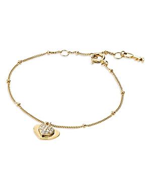 Michael Kors Kors Love Pave Heart Sterling Silver Bracelet in 14K Gold-Plated Sterling Silver, 14K R