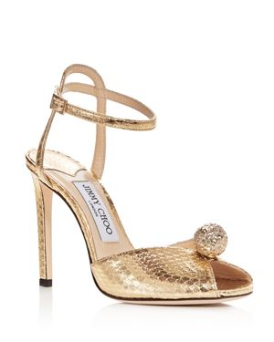 Jimmy Choo Women's Sacora 100 Snake-Embossed Embellished Leather High-Heel Sandals