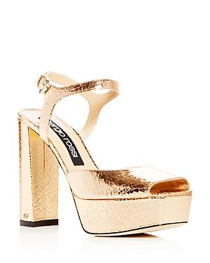 Sergio Rossi Women's Crackled Leather High Block-Heel Platform Sandals
